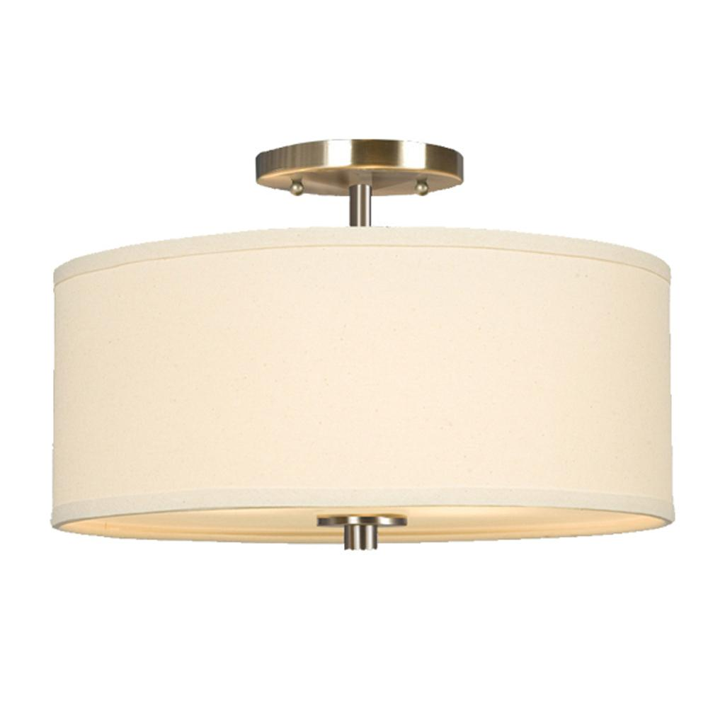semi flush mount brushed nickel with linen off white shade 6xcp9. Black Bedroom Furniture Sets. Home Design Ideas