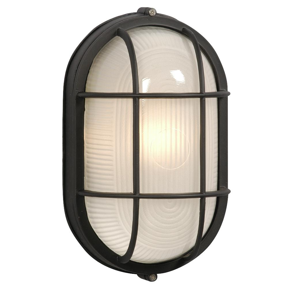 Cast Aluminum Marine Light With Guard Black W Frosted